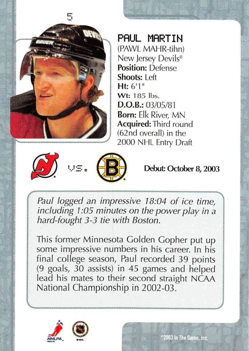 2003-04-In-The-Game-VIP-Rookie-Debut-Hockey-Cards-Pick-From-List thumbnail 11