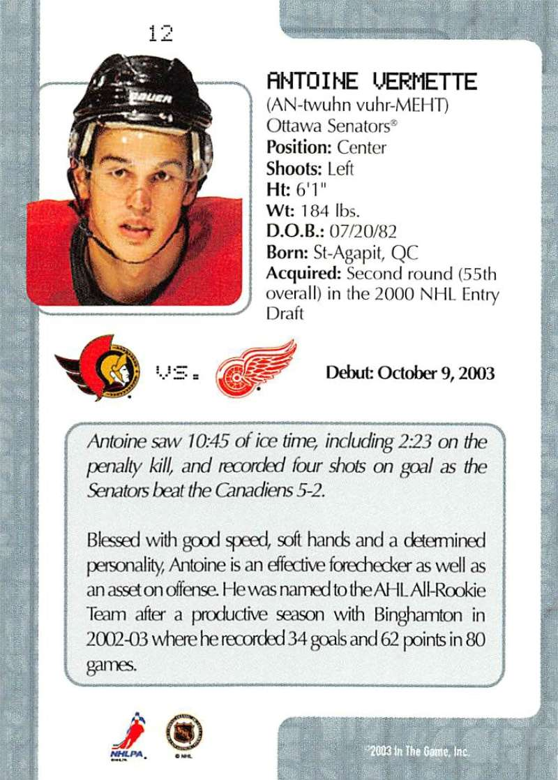 2003-04-In-The-Game-VIP-Rookie-Debut-Hockey-Cards-Pick-From-List thumbnail 23