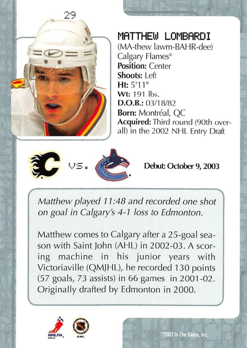 2003-04-In-The-Game-VIP-Rookie-Debut-Hockey-Cards-Pick-From-List thumbnail 57