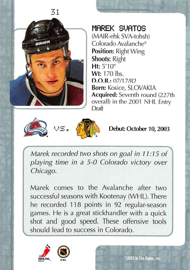 2003-04-In-The-Game-VIP-Rookie-Debut-Hockey-Cards-Pick-From-List thumbnail 61