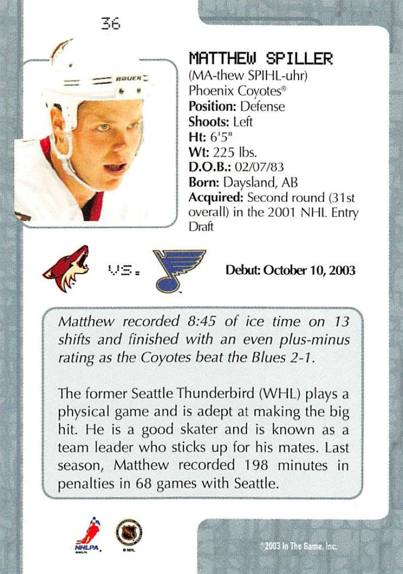 2003-04-In-The-Game-VIP-Rookie-Debut-Hockey-Cards-Pick-From-List thumbnail 67