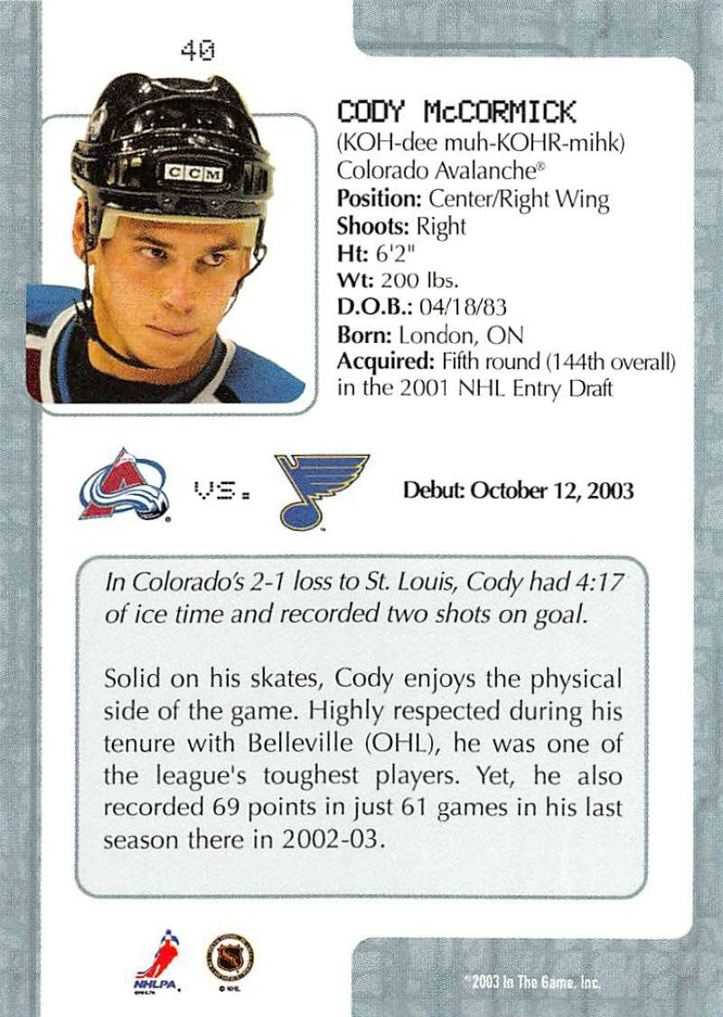 2003-04-In-The-Game-VIP-Rookie-Debut-Hockey-Cards-Pick-From-List thumbnail 75