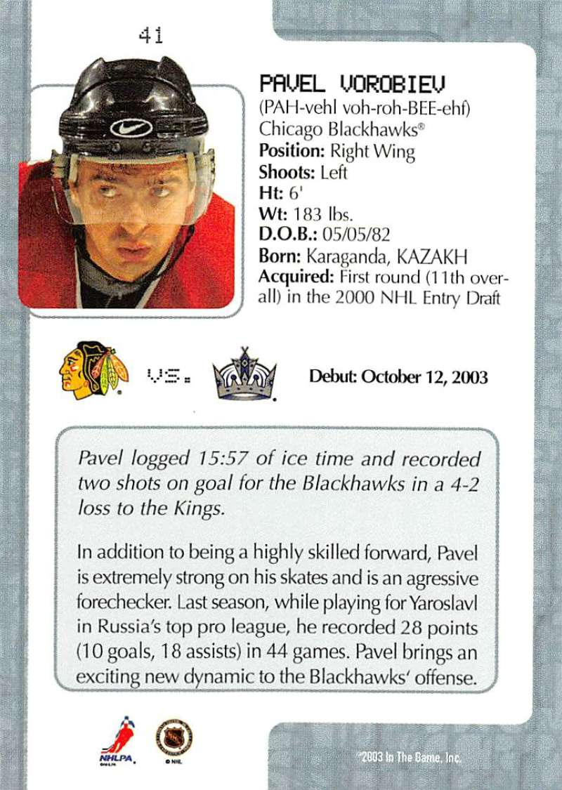 2003-04-In-The-Game-VIP-Rookie-Debut-Hockey-Cards-Pick-From-List thumbnail 77