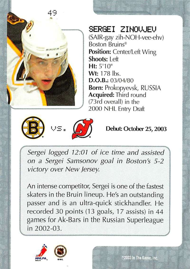 2003-04-In-The-Game-VIP-Rookie-Debut-Hockey-Cards-Pick-From-List thumbnail 93