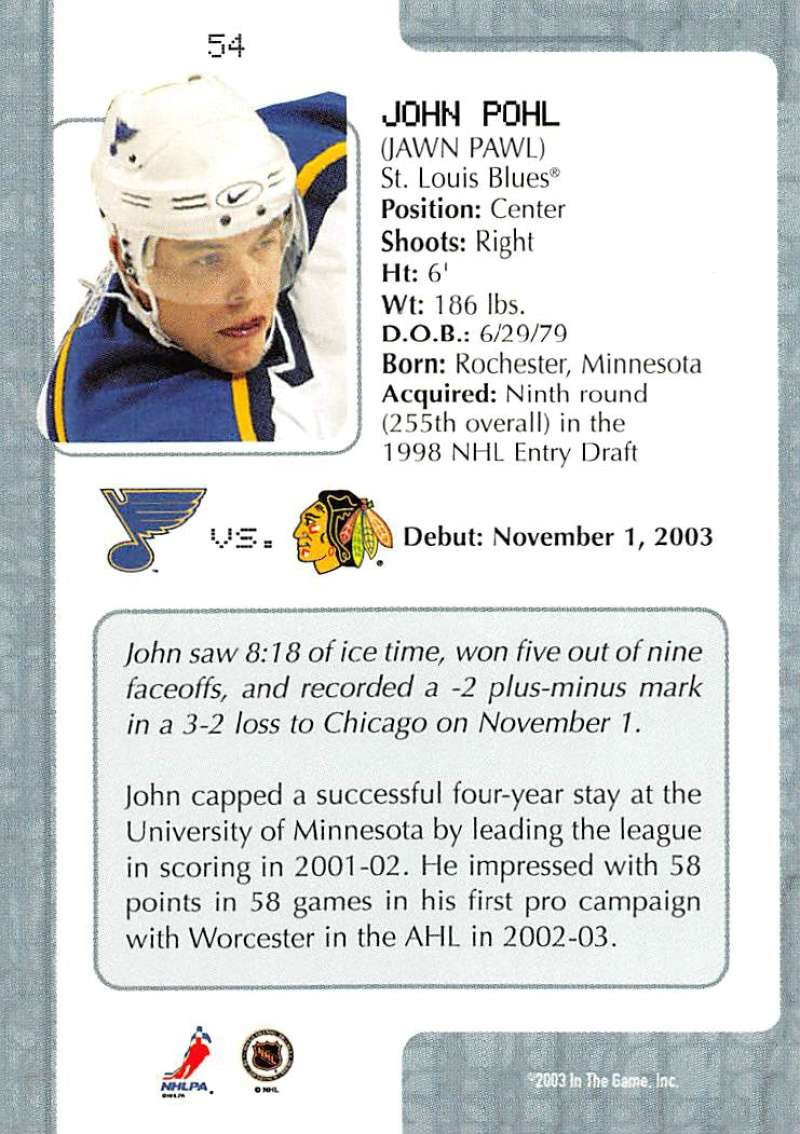 2003-04-In-The-Game-VIP-Rookie-Debut-Hockey-Cards-Pick-From-List thumbnail 99