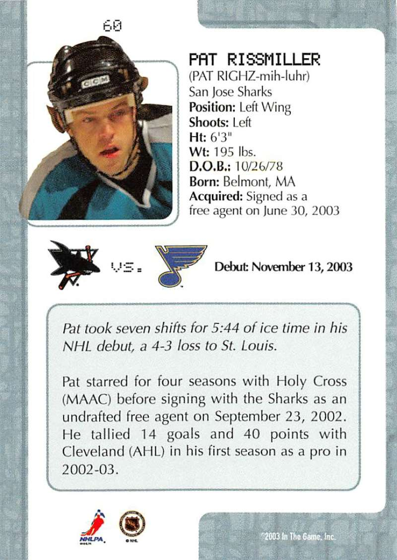 2003-04-In-The-Game-VIP-Rookie-Debut-Hockey-Cards-Pick-From-List thumbnail 107