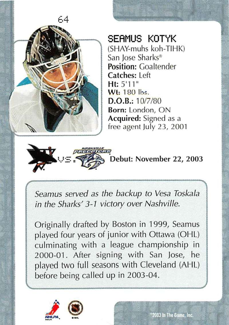 2003-04-In-The-Game-VIP-Rookie-Debut-Hockey-Cards-Pick-From-List thumbnail 113