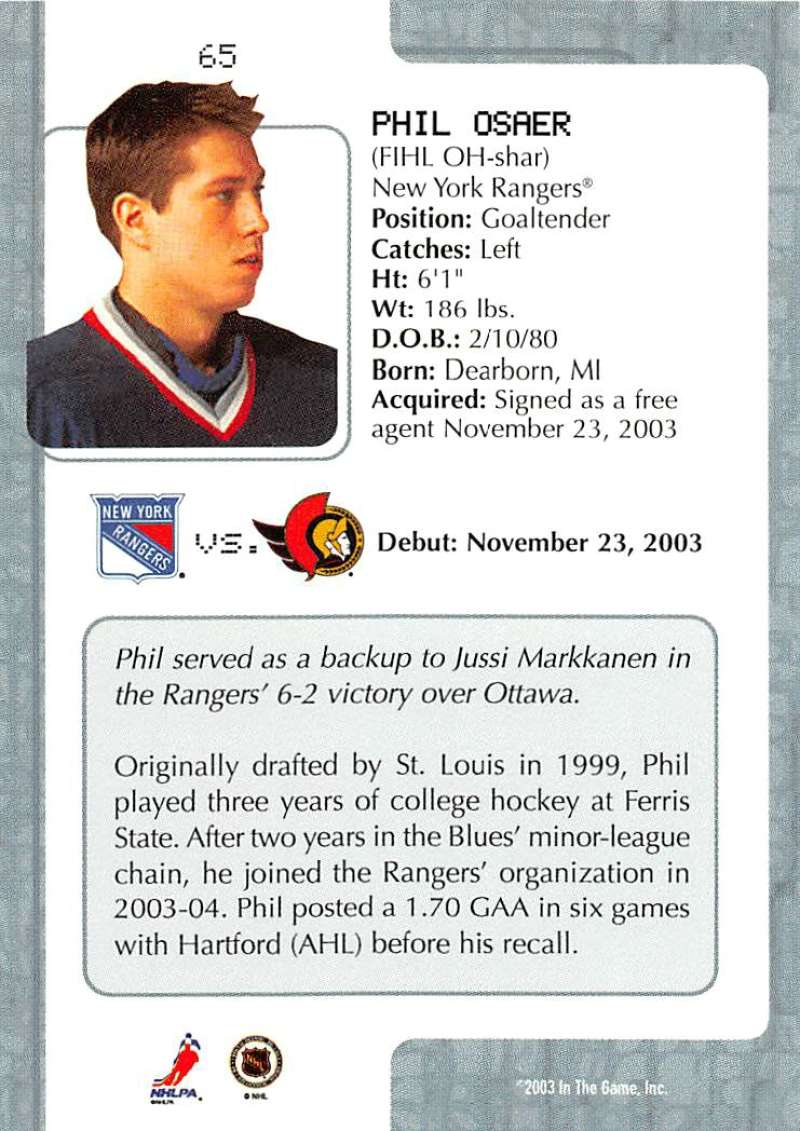 2003-04-In-The-Game-VIP-Rookie-Debut-Hockey-Cards-Pick-From-List thumbnail 115