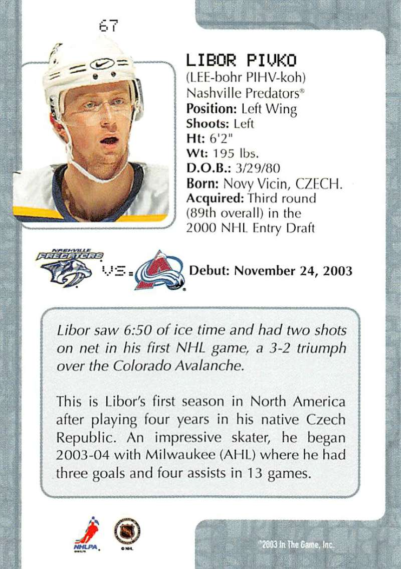 2003-04-In-The-Game-VIP-Rookie-Debut-Hockey-Cards-Pick-From-List thumbnail 119