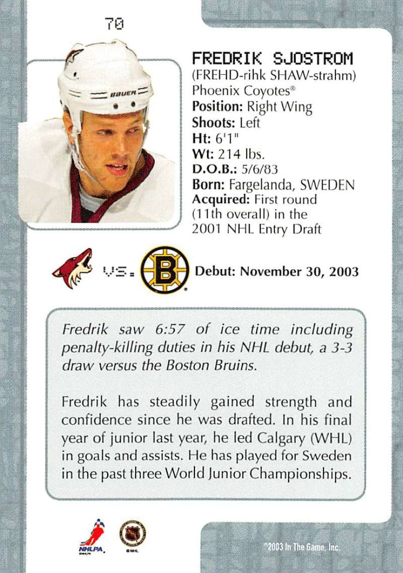 2003-04-In-The-Game-VIP-Rookie-Debut-Hockey-Cards-Pick-From-List thumbnail 125