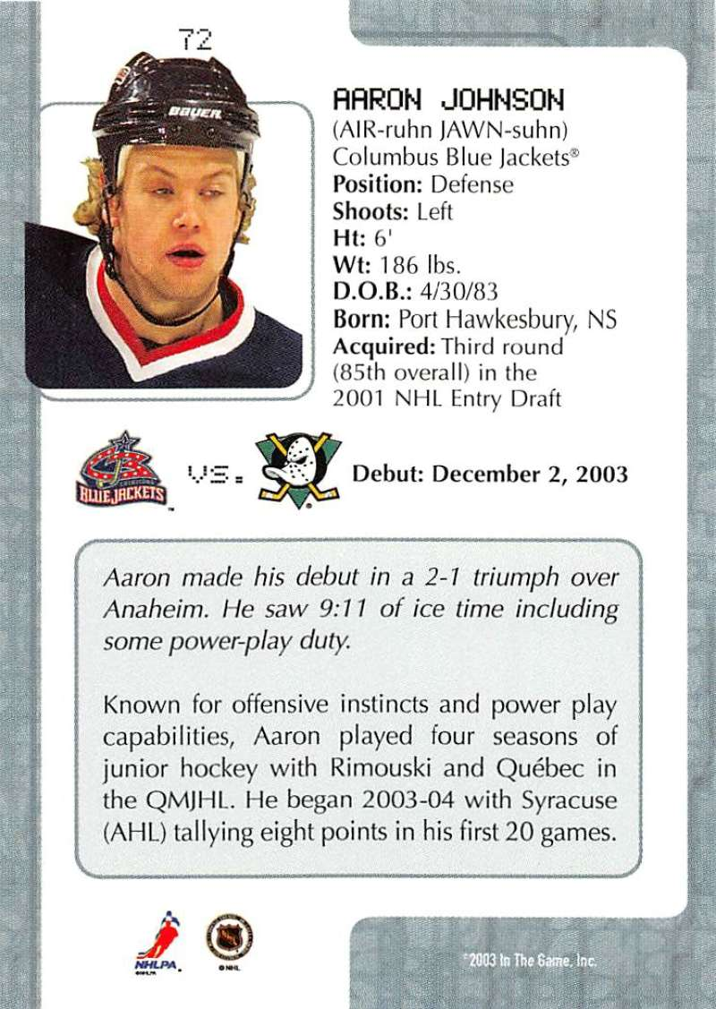 2003-04-In-The-Game-VIP-Rookie-Debut-Hockey-Cards-Pick-From-List thumbnail 129