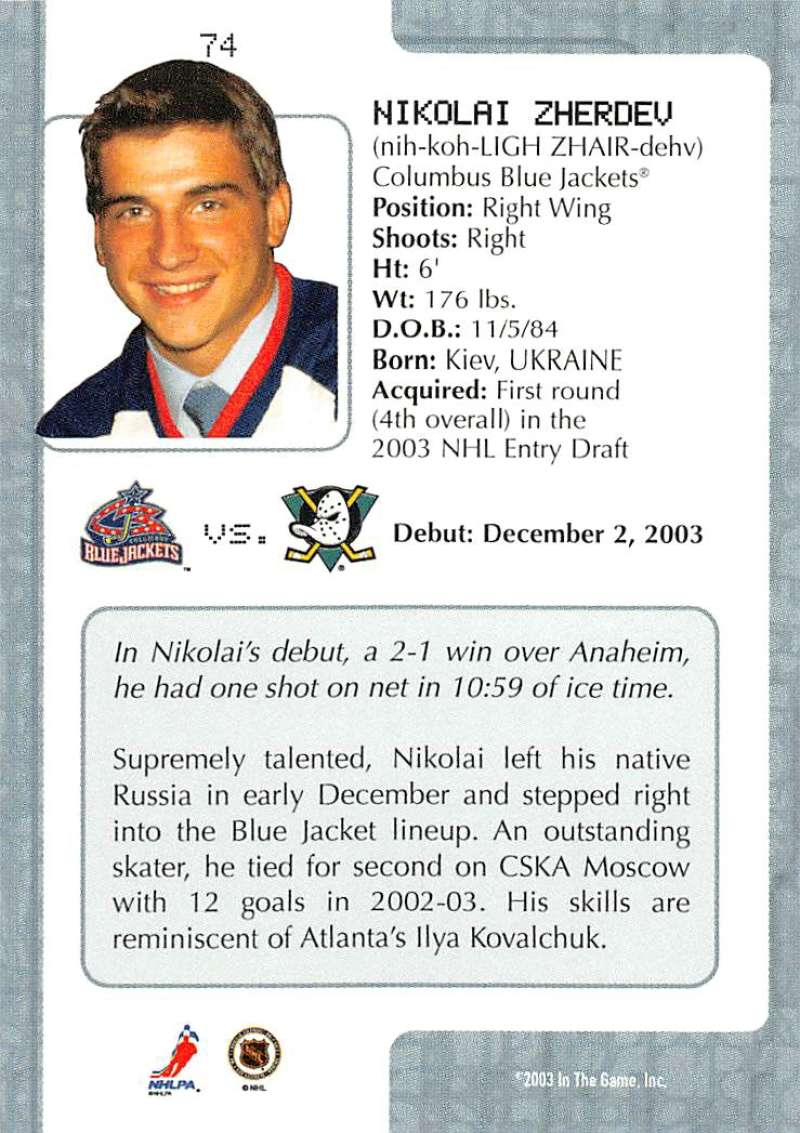 2003-04-In-The-Game-VIP-Rookie-Debut-Hockey-Cards-Pick-From-List thumbnail 133