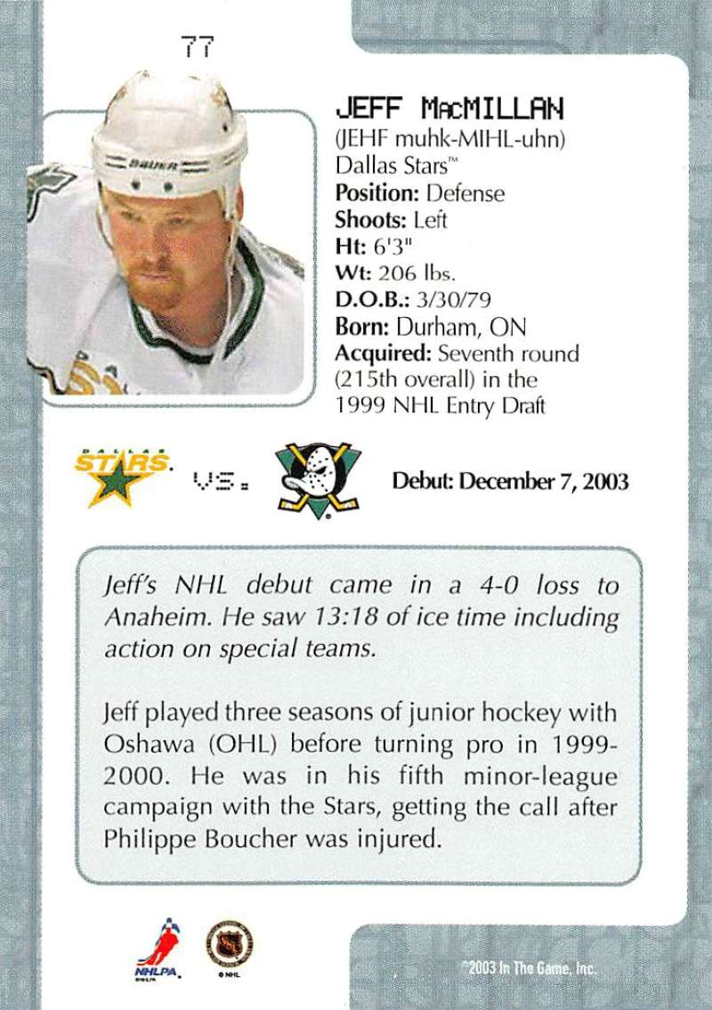 2003-04-In-The-Game-VIP-Rookie-Debut-Hockey-Cards-Pick-From-List thumbnail 137