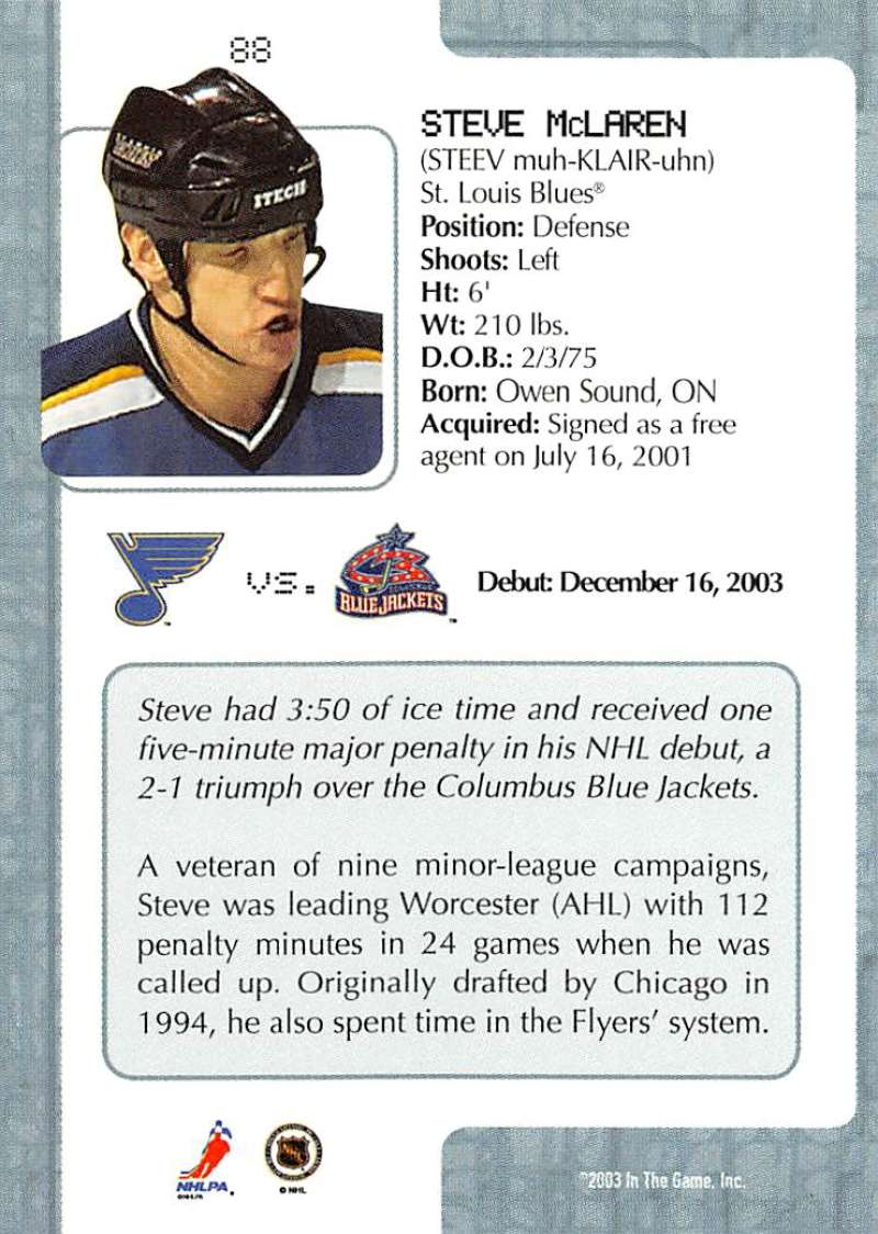 2003-04-In-The-Game-VIP-Rookie-Debut-Hockey-Cards-Pick-From-List thumbnail 159