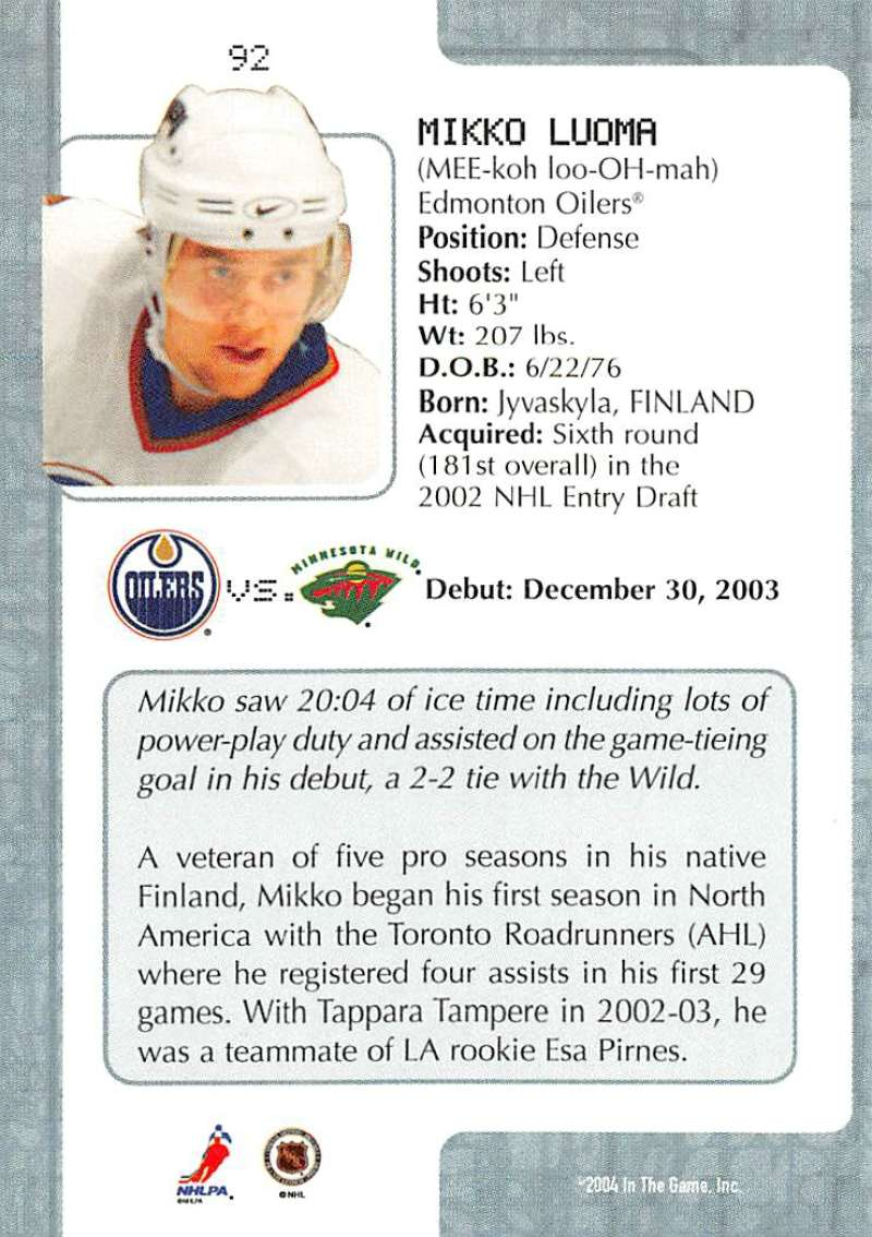 2003-04-In-The-Game-VIP-Rookie-Debut-Hockey-Cards-Pick-From-List thumbnail 167