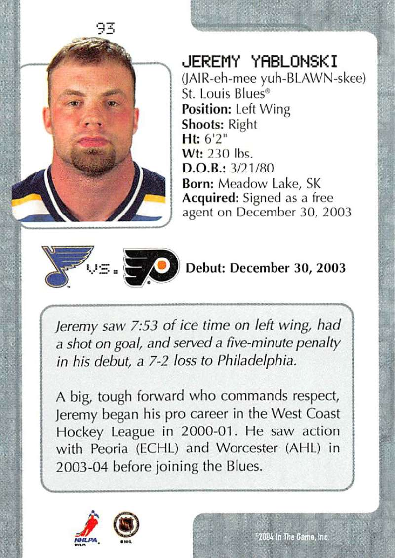 2003-04-In-The-Game-VIP-Rookie-Debut-Hockey-Cards-Pick-From-List thumbnail 169
