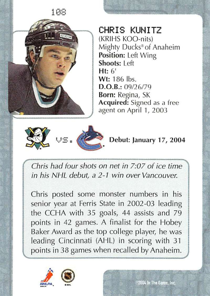 2003-04-In-The-Game-VIP-Rookie-Debut-Hockey-Cards-Pick-From-List thumbnail 197