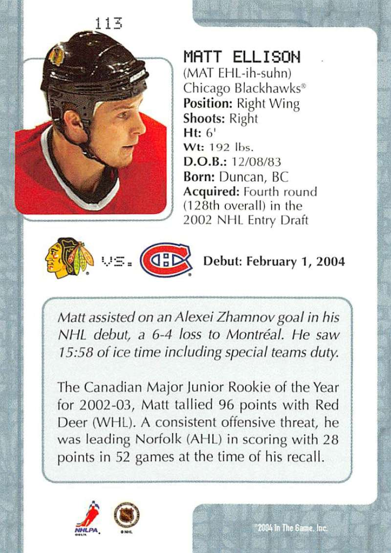 2003-04-In-The-Game-VIP-Rookie-Debut-Hockey-Cards-Pick-From-List thumbnail 207