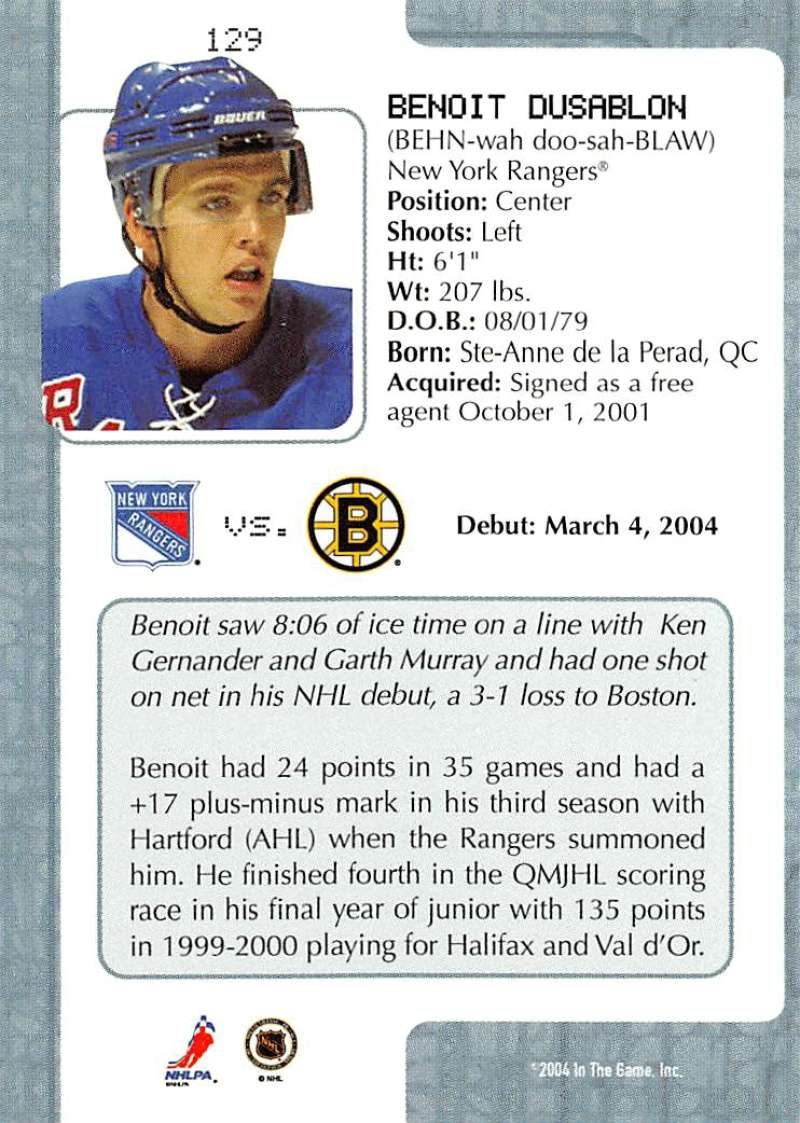 2003-04-In-The-Game-VIP-Rookie-Debut-Hockey-Cards-Pick-From-List thumbnail 235