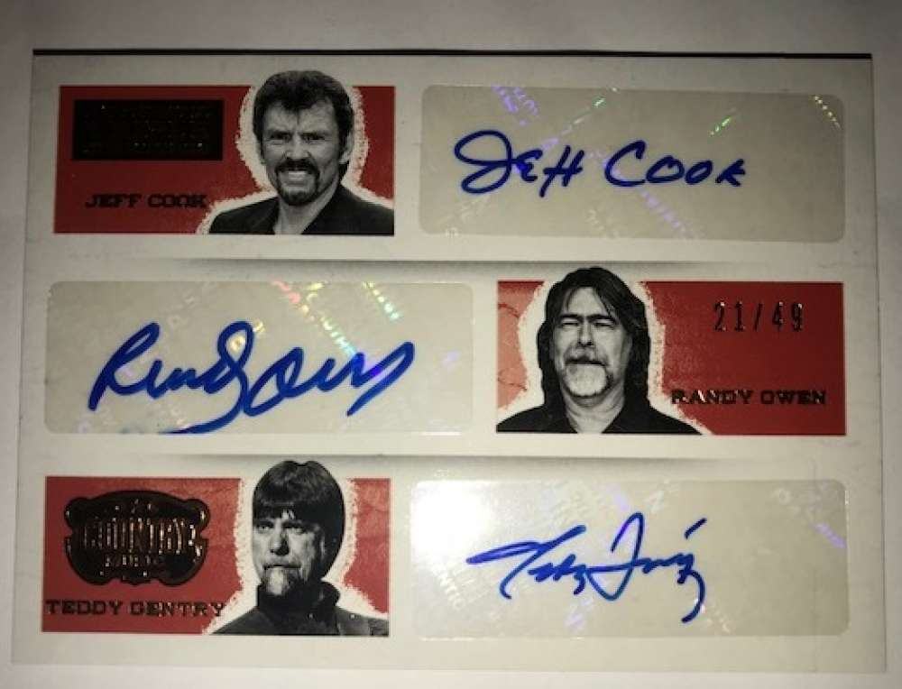 2014 Panini Country Music Triple Signatures #3 Jeff Cook/Randy Owen/Teddy Gentry Auto Autograph