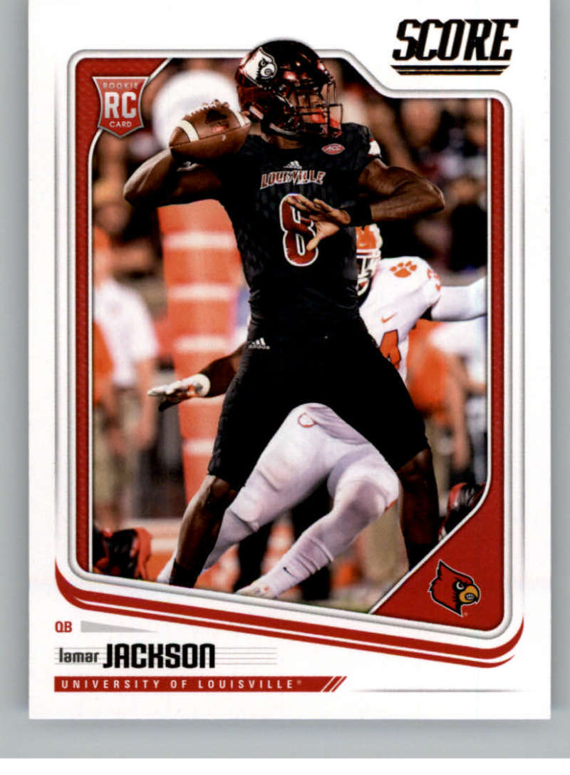 2018 Score #352 Lamar Jackson Louisville Cardinals Rookie Football Card