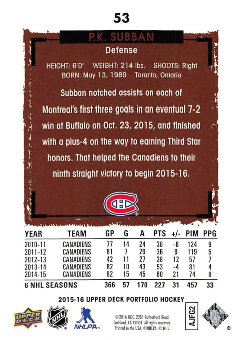 2015-16-Upper-Deck-Portfolio-Hockey-Cards-Pick-From-List-1-250-Includes-Rookies thumbnail 101