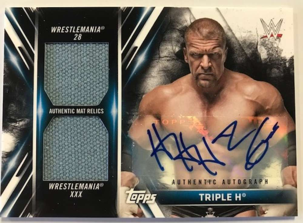 2018 Topps WWE Dual Autographed Mat Relics #NNO Triple H Jersey/Relic Auto Autograph SER/10 WWE