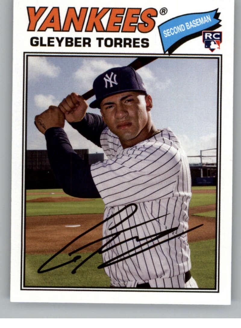 2018 Topps Archives Baseball #164 Gleyber Torres RC Rookie Card New York Yankees 1977 Topps Design
