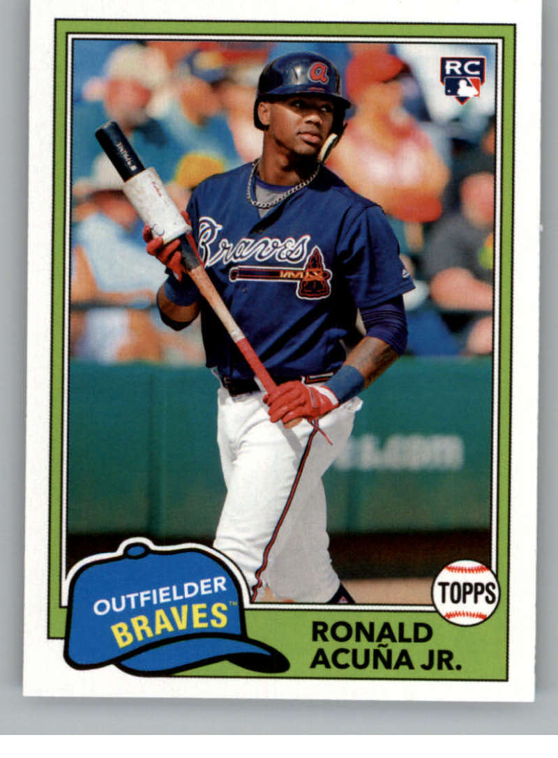 2018 Topps Archives Baseball #212 Ronald Acuna Jr. RC Rookie Card Atlanta Braves 1981 Topps Design