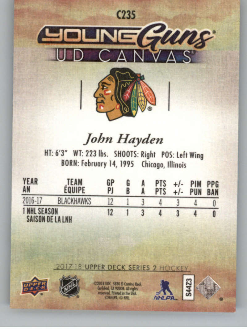 2017-18-Upper-Deck-Canvas-Series-Two-Cards-Pick-From-List-Includes-Young-Guns miniature 107