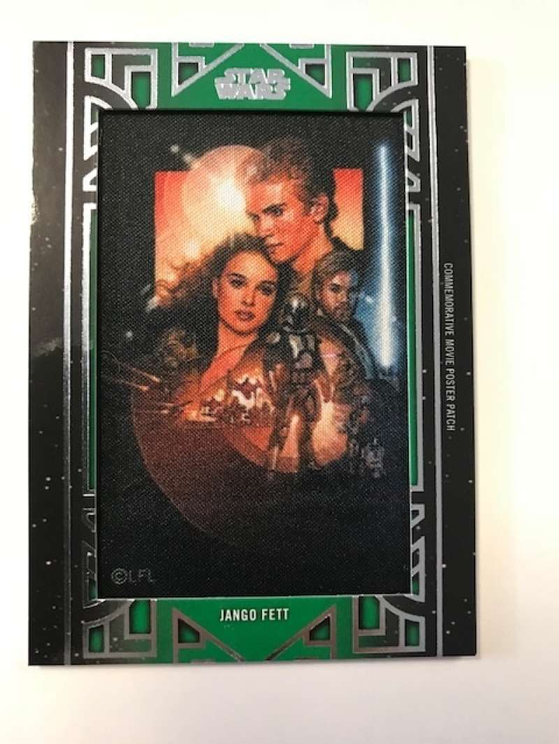 2018 Topps Star Wars Galactic Files Manufactured Movie Poster Patches Green #NNO Jango Fett SER/50 Attack of the Clones