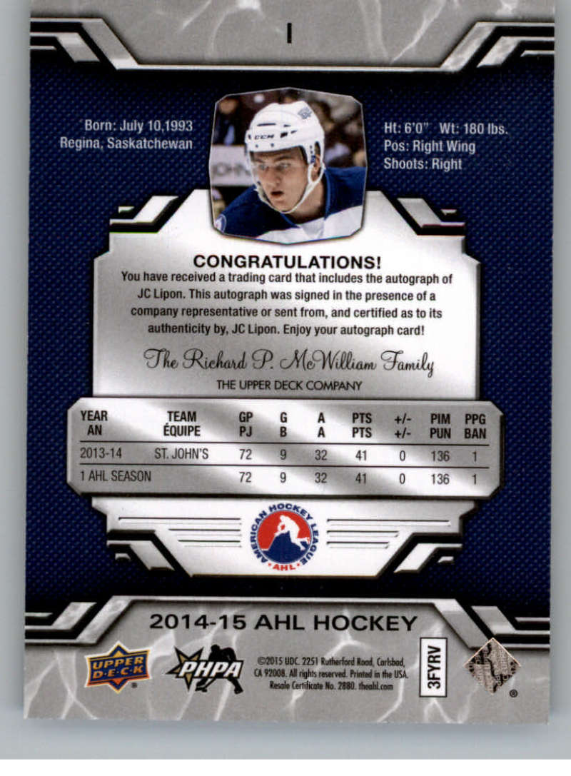 2014-15-Upper-Deck-AHL-Autographs-Stickers-Patch-Cards-Pick-From-List thumbnail 3