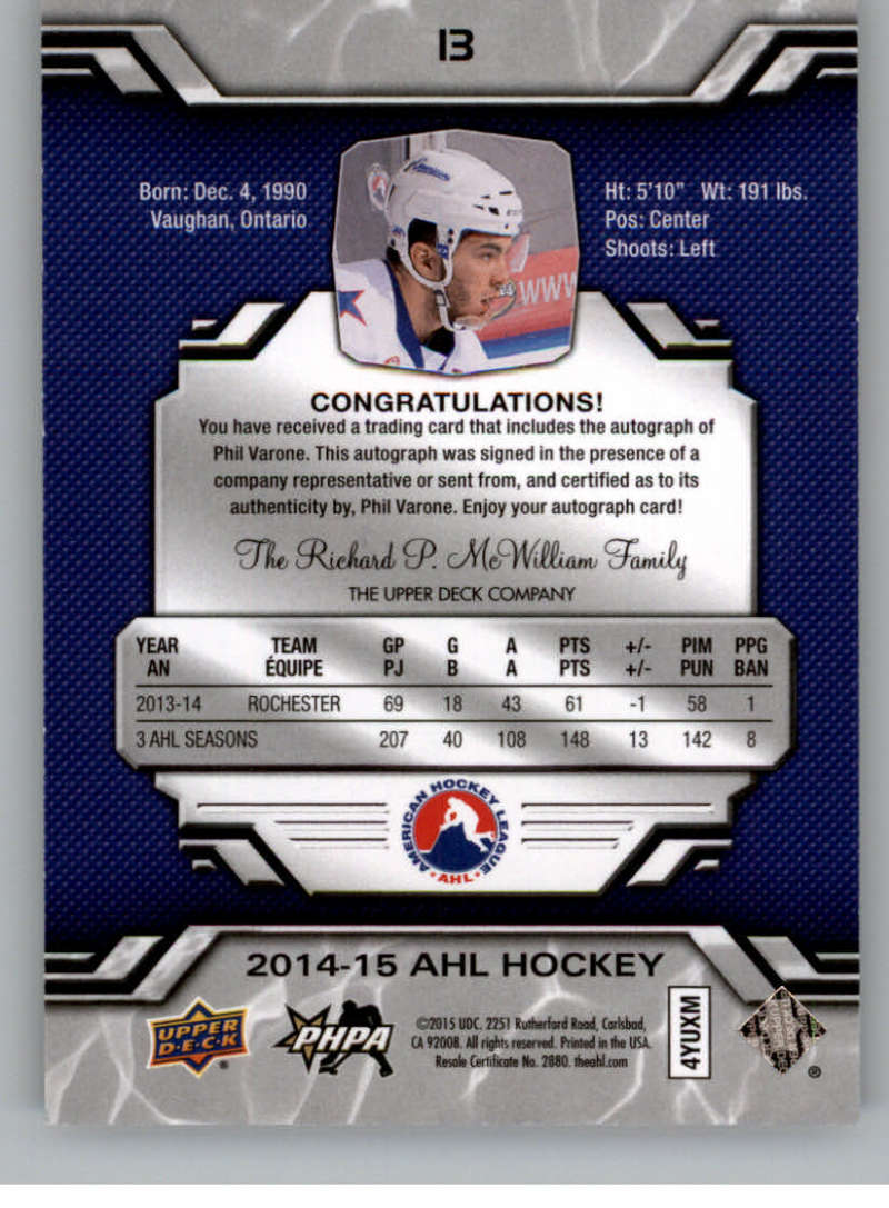 2014-15-Upper-Deck-AHL-Autographs-Stickers-Patch-Cards-Pick-From-List thumbnail 9