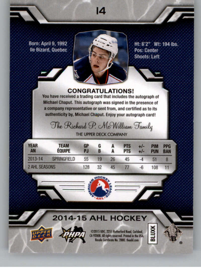 2014-15-Upper-Deck-AHL-Autographs-Stickers-Patch-Cards-Pick-From-List thumbnail 11