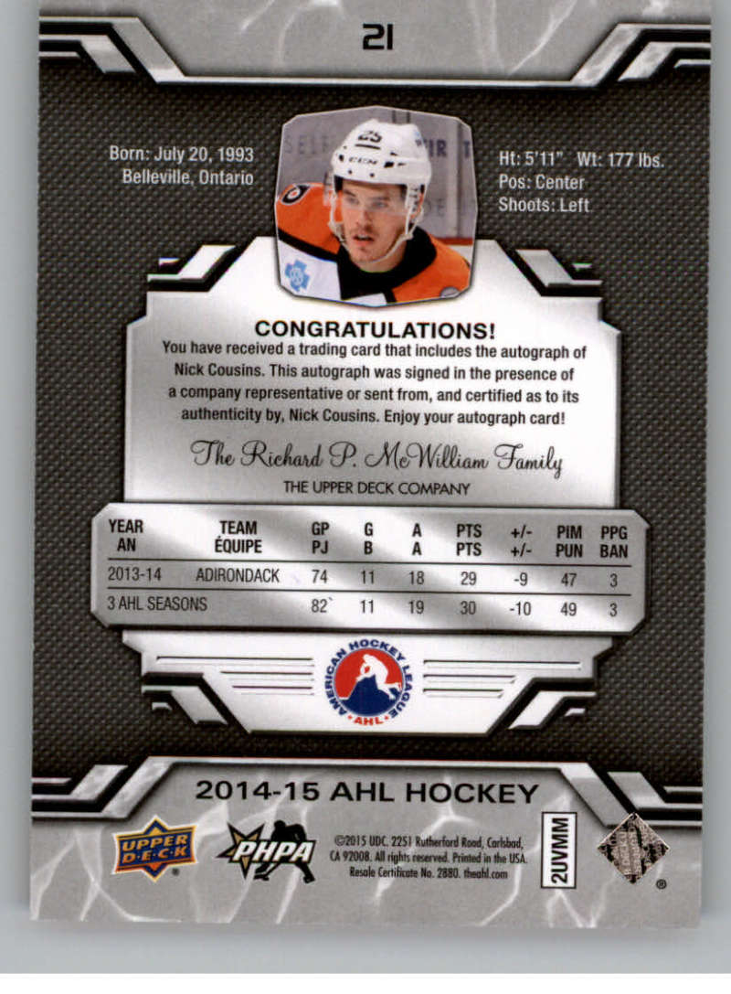 2014-15-Upper-Deck-AHL-Autographs-Stickers-Patch-Cards-Pick-From-List thumbnail 15