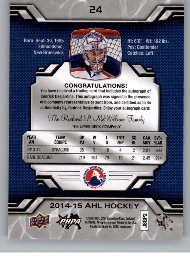 2014-15-Upper-Deck-AHL-Autographs-Stickers-Patch-Cards-Pick-From-List thumbnail 19