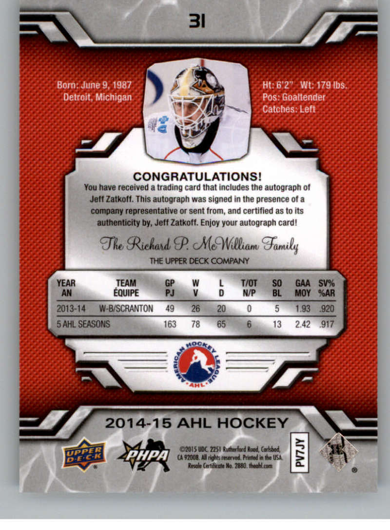 2014-15-Upper-Deck-AHL-Autographs-Stickers-Patch-Cards-Pick-From-List thumbnail 27