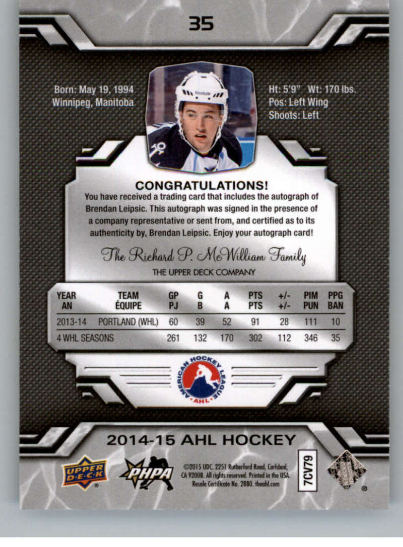 2014-15-Upper-Deck-AHL-Autographs-Stickers-Patch-Cards-Pick-From-List thumbnail 33