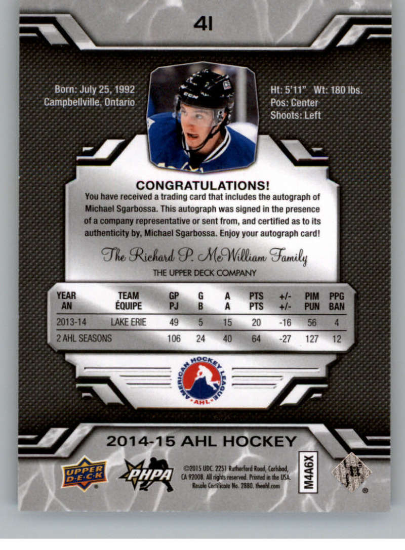 2014-15-Upper-Deck-AHL-Autographs-Stickers-Patch-Cards-Pick-From-List thumbnail 41