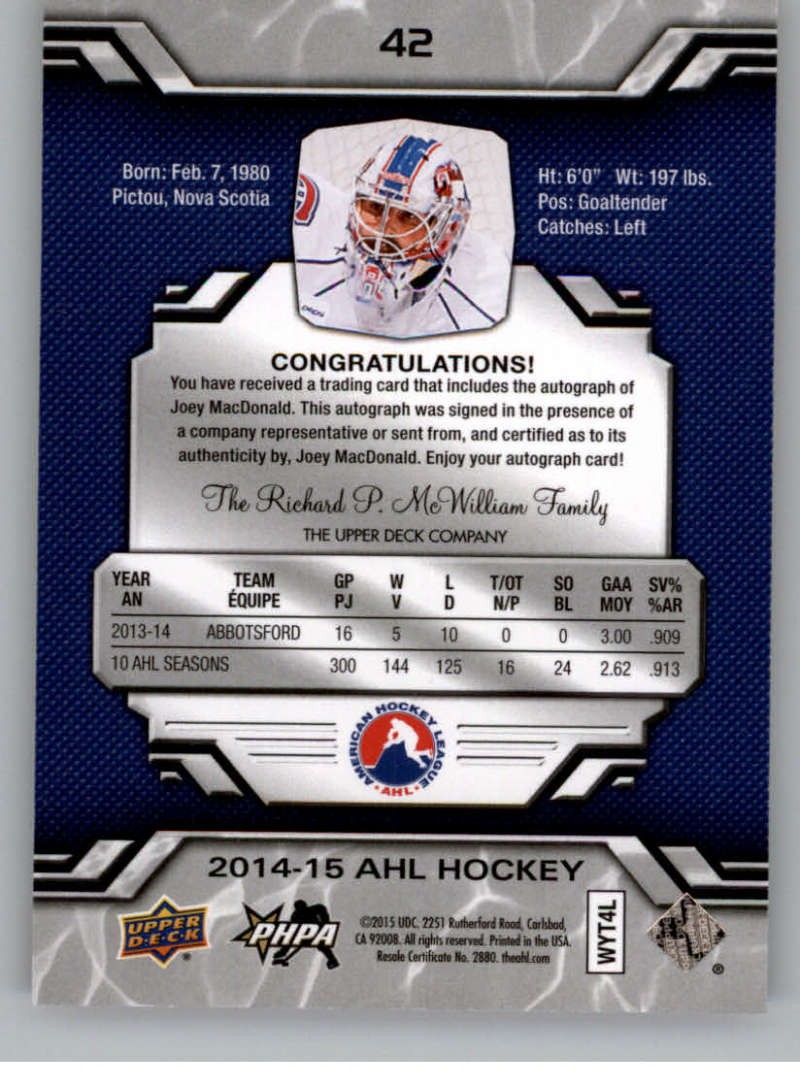 2014-15-Upper-Deck-AHL-Autographs-Stickers-Patch-Cards-Pick-From-List thumbnail 43