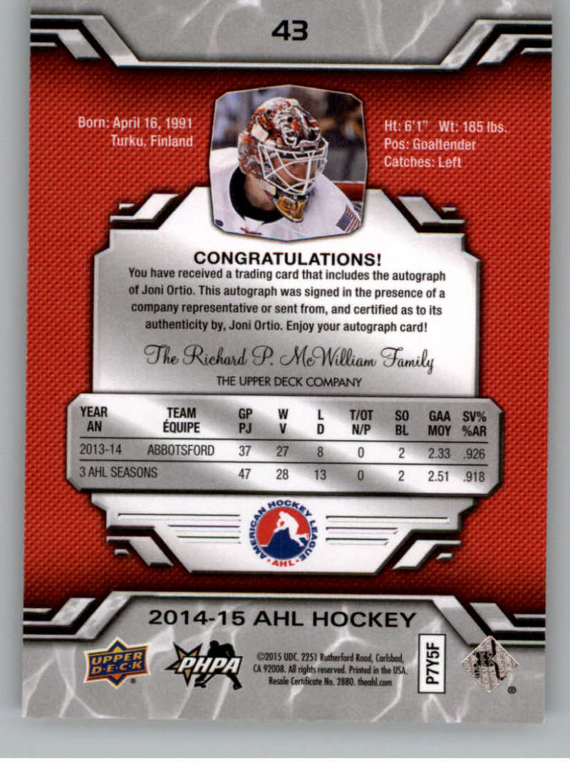 2014-15-Upper-Deck-AHL-Autographs-Stickers-Patch-Cards-Pick-From-List thumbnail 45