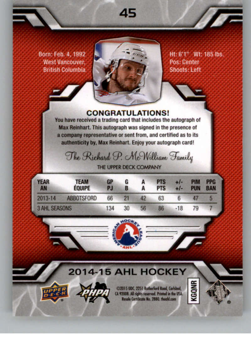 2014-15-Upper-Deck-AHL-Autographs-Stickers-Patch-Cards-Pick-From-List thumbnail 49
