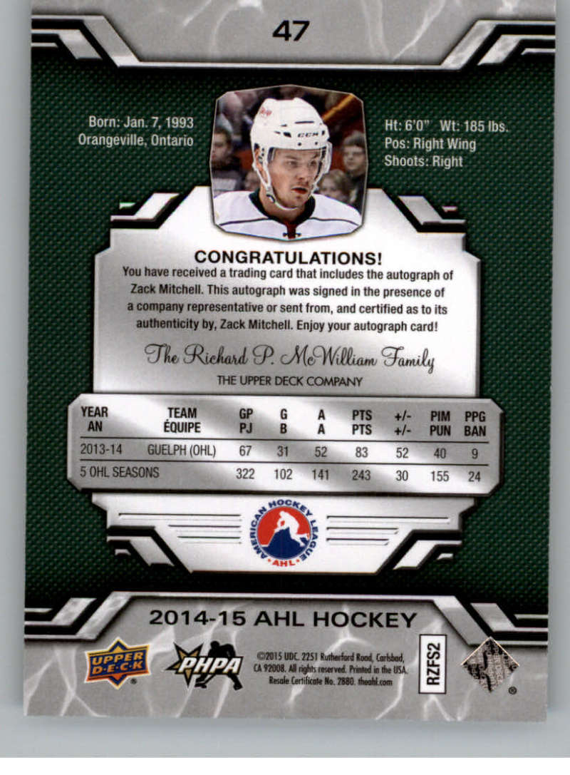 2014-15-Upper-Deck-AHL-Autographs-Stickers-Patch-Cards-Pick-From-List thumbnail 51