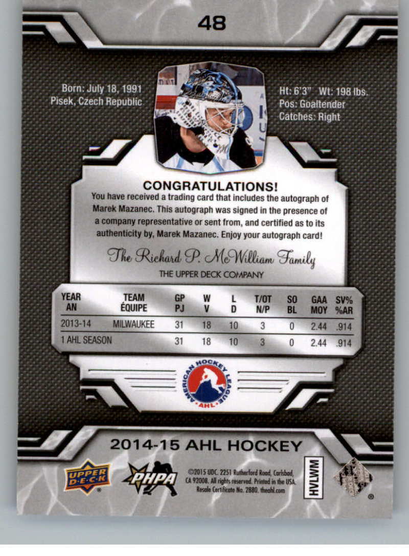 2014-15-Upper-Deck-AHL-Autographs-Stickers-Patch-Cards-Pick-From-List thumbnail 53