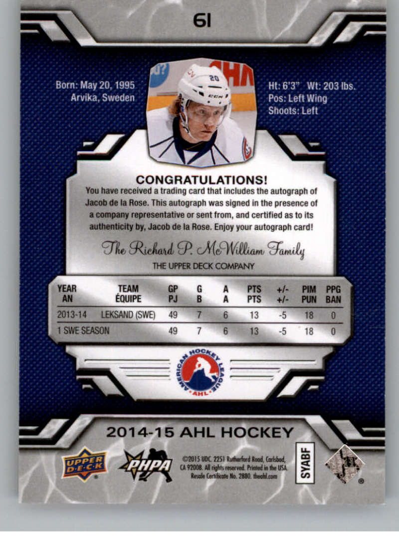 2014-15-Upper-Deck-AHL-Autographs-Stickers-Patch-Cards-Pick-From-List thumbnail 65