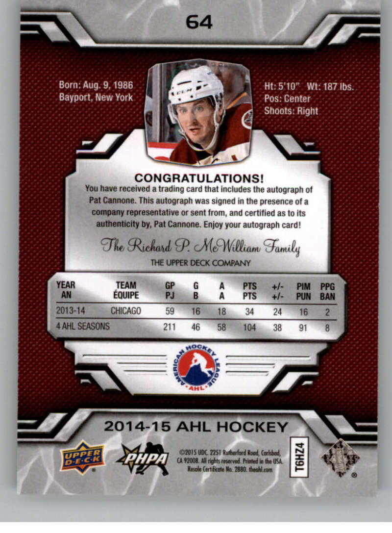 2014-15-Upper-Deck-AHL-Autographs-Stickers-Patch-Cards-Pick-From-List thumbnail 71