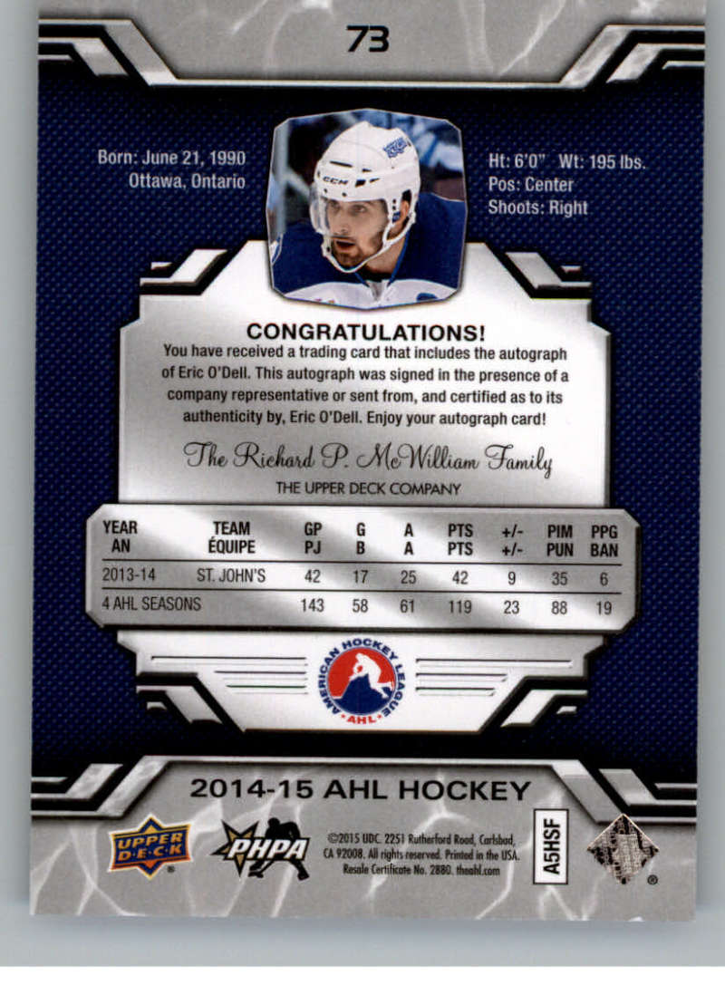 2014-15-Upper-Deck-AHL-Autographs-Stickers-Patch-Cards-Pick-From-List thumbnail 83