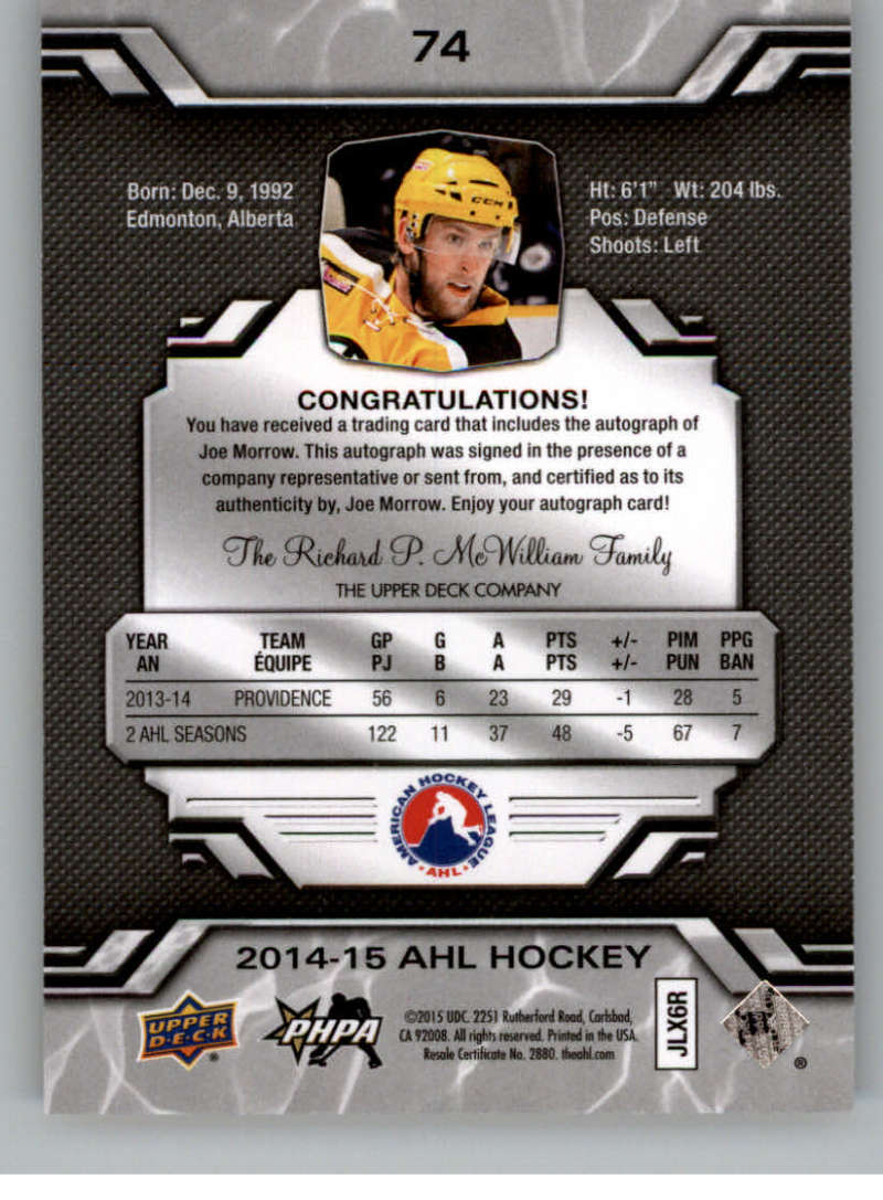 2014-15-Upper-Deck-AHL-Autographs-Stickers-Patch-Cards-Pick-From-List thumbnail 85