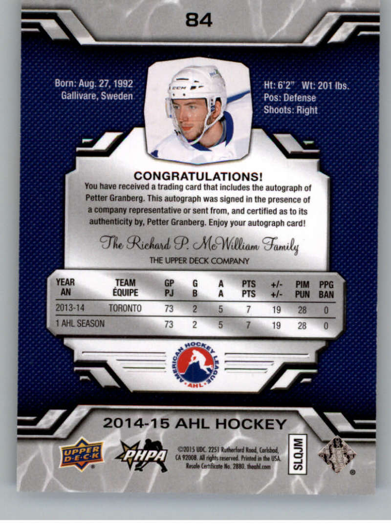 2014-15-Upper-Deck-AHL-Autographs-Stickers-Patch-Cards-Pick-From-List thumbnail 95