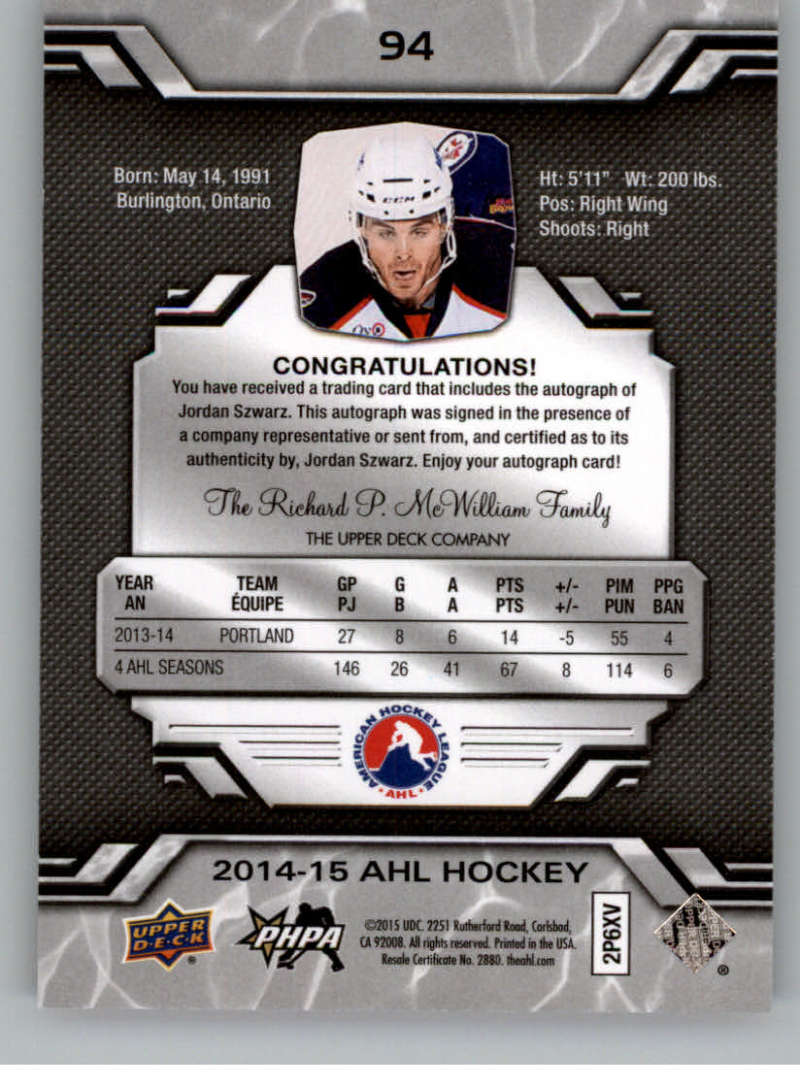 2014-15-Upper-Deck-AHL-Autographs-Stickers-Patch-Cards-Pick-From-List thumbnail 101